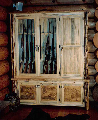 Exceptionnel Custom Hand Carved Gun Cabinet. As A Surprise Gift To My Customer, I  Installed A Large Hidden Compartment With Lights In It. When I Delivered  Thie Piece And ...
